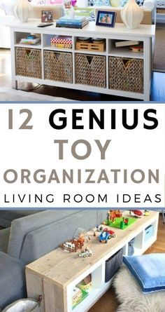 12 Genius Toy Organization Ideas for The Living Room - Habitat For Mom : 12 Genius Toy Organization Ideas for The Living Room. New mom tips Living Room Toy Storage, Living Room Playroom, Kids Living Rooms, Home And Living, Living Room Decor, Living Room Hacks, Small Living, Modern Living, Colecho Ideas