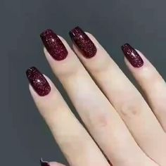 Matte Nails Glitter, Red Acrylic Nails, Rose Gold Nails, Pink Nails, Gel Nails, Red Nails With Glitter, Dark Red Nails, Burgundy Nails, Cute Nails