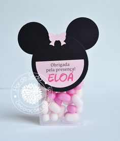 Lembrança Infantil Minnie  Tic-Tac personalizados com tag em scrapbook