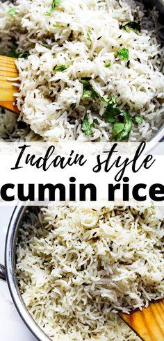 Cumin Rice Recipe, Basmati Rice Recipes, Cooking Basmati Rice, Side Dish Recipes, Asian Recipes, Healthy Recipes, Yummy Rice Recipes, Ethnic Recipes, Indian Food Recipes Easy