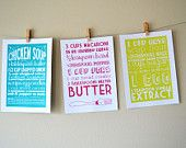 these are awesome!! By Articipe on Etsy, you can order a custom print of a favorite recipe! Love this idea!!