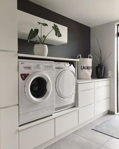 34 Fabulous Scandinavian Laundry Room Design Ideas - Its one of the most used rooms in the house but it never gets a makeover. What room is it? The laundry room. Almost every home has a laundry room and . Modern Laundry Rooms, Laundry Room Layouts, Laundry Room Organization, Laundry Room Design, Home Design, Decor Interior Design, Design Ideas, Utility Room Designs, Landry Room