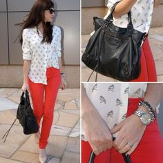Red jeans and a white patterned blouse. I could rock this...