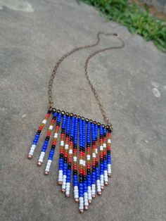 Handmade native seed bead fringe boho chevron by JupiterOak