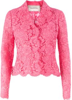 Pink cotton blend floral lace jacket from Valentino featuring notched lapels, a concealed front fastening, a scalloped hem, long sleeves and a central bow detail at the rear. Lace Blazer, Floral Blazer, Lace Jacket, Floral Jacket, Pink Jacket, Dress Brukat, Classy Work Outfits, Women Church Suits, Lace Tops