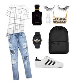 """Untitled #6"" by kseniya-vikhireva on Polyvore featuring Zara, adidas, Rains, Keiko Mecheri and Essie"