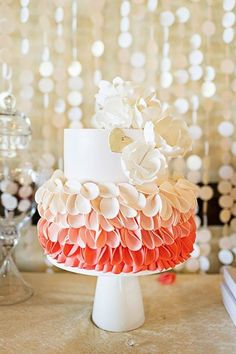 What a sweet ombre ruffle cake!