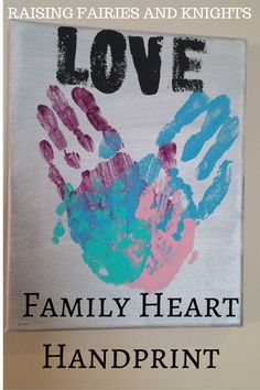 Family Heart Handpring - Time for mama to take Mother's Day presents into her own hand, for under $10! Make this with your family and have a lovely keepsake on your wall.