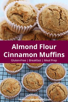Gluten-free cinnamon muffins made with almond flour and sweetened with maple syrup. Perfect for a healthy snack or grab and go breakfast. Try making a batch of these easy and moist muffins as part of your next meal prep to enjoy all week long! Muffins Sans Gluten, Almond Muffins, Dessert Sans Gluten, Cinnamon Muffins, Gluten Free Desserts, Dairy Free Recipes, Baking Recipes, Dessert Recipes, Breakfast Recipes