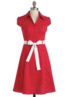 Hepcat Soda Fountain Dress in Cherry - Rockabilly, Pinup, Vintage Inspired, 50s, Red, White, Polka Dots, Buttons, A-line, Cap Sleeves, Work,...