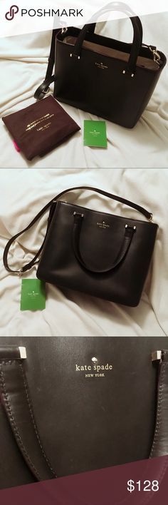 Kate Spade Wellesley Quinn Crossbody Tote Handbag ♠️Gently used, still in great condition. Normal sign of worn (see 3rd and 4th pic), but not quite noticable since the leather is dark as black. Dust bag & care card included. Sold out in stores/online! ♠️Size 11.6×9.37×4.8''. Two large compartments. Two zipped pockets and two slip pockets inside. Shoulder straps are adjustable and removable. ♠️You can wear it to school/work as it's very spacious and functional. FYI, it can perfectly fit my…