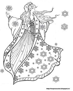 Snow fairy coloring pages Angel Coloring Pages, Coloring Pages Winter, Free Coloring Sheets, Christmas Coloring Pages, Colouring Pages, Coloring Pages For Kids, Coloring Books, Snow Fairy, Winter Fairy