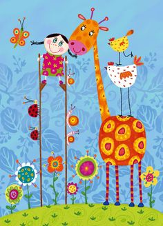 Illustration from corinne bittler Illustration Mignonne, Art Fantaisiste, Art Mignon, Art Carte, Children's Book Illustration, Whimsical Art, Nursery Art, Cute Art, Baby Quilts
