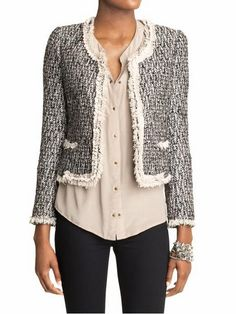 boucle or tweed jackets can dress up anything