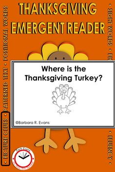 This emergent reader is perfect for the weeks prior to Thanksgiving. It is designed to promote using picture cues. It builds knowledge of sight words, in particular positional words. Children will delight in the surprise ending. Teaching activities are provided by a Reading Recovery™ teacher. Use this text for guided reading in preschool, kindergarten, or first grade (1st grade). Speech Therapy Activities, Teaching Activities, Language Activities, Teaching Resources, Teaching Ideas, Classroom Resources, Rhyming Words, Sight Words, Holiday Activities For Kids