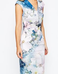 34fdc98da5bf8a Image 3 of Ted Baker Amily Floral Geo Bodycon Dress Ted Baker