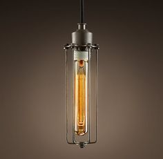 Edison Caged Pendant on either side of sink