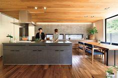 Wood Wallpaper, Minimalist Home, Home Renovation, Kitchen Interior, Kitchen Dining, House Plans, House Design, Living Room, Interior Design