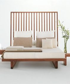Wooden double bed with upholstered headboard NIGHT-NIGHT by Riva 1920 | #design Terry Dwan #bedroom #wood
