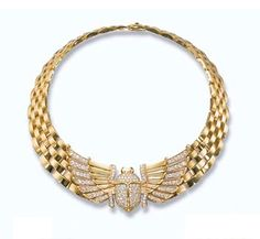 GOLD AND DIAMOND JEWELLERY, BY CARTIER   Comprising a brick-link necklace with brilliant-cut diamond Egyptian scarab centre, 34.0 cm long, in red leather Cartier case; a bracelet of similar design with brilliant-cut diamond Egyptian vulture, 18.0 cm long  Signed Cartier