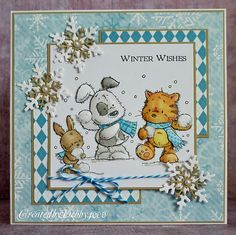 Snowball winter card by Debby Yates. he papers are Echo Park from last year and my snowflakes are MFT, the snowballs have had my mixture of fun flock and flowersoft to get the fluffy look.