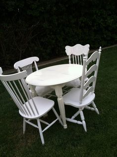 Farmhouse Chairs, Mix and Match, Set of 4 Dining Chairs, White, Shabby Chic,  White Spindle Chairs, Kitchen Chair (Los Angeles) by ThePaintedLdy on Etsy https://www.etsy.com/listing/153248101/farmhouse-chairs-mix-and-match-set-of-4