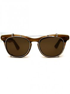 Lenox glasses and clip-on shades by Illesteva.