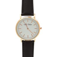 Clean Slate Faux Leather Watch (2.315 HUF) ❤ liked on Polyvore featuring jewelry, watches, accessories - watches, black, vegan jewelry, faux watches, imitation jewellery, metallic jewelry and fake jewelry