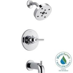 Delta Trinsic 1-Handle 1-Spray Tub and Shower Faucet Trim Kit in Chrome (Valve Not Included)-T14459 - The Home Depot