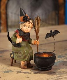 """Bethany Lowe """"Little Witch with Cauldron"""" Halloween Figure"""