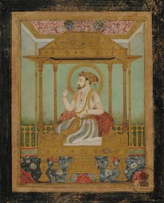 Shah Jahan seated on his peacock throne