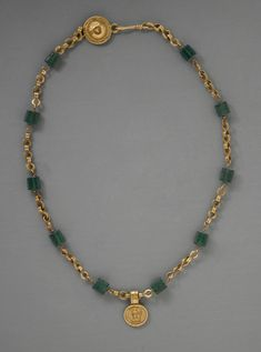 Gold Necklace with Medallion Depicting a Goddess, Egypt, Roman Period BCE - 300 CE) Los Angeles County Museum of Art, Currently not on view Source Jewelry Gifts, Jewelery, Jewelry Necklaces, Beaded Necklace, Pearl Necklaces, Geek Jewelry, Layered Necklace, Fashion Jewelry, Ancient Egyptian Jewelry