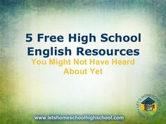 5 Free High School English Resources You Might Not Have Heard About Yet by LetsHomeschoolHighschool via Slideshare Homeschool High School, School Classroom, School Teacher, Homeschooling, Classroom Ideas, Classroom Procedures, Flipped Classroom, English Resources, Education English