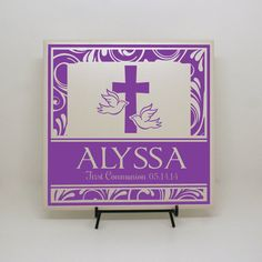 """First Communion Gift, Baptism Gift """"Every Good and Perfect Gift Comes From Above"""" Personalized Tile, Custom Religious, Custom Baptism, on Etsy, $35.00"""