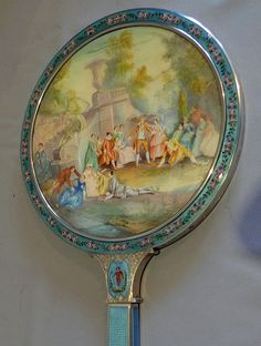 Silver, guilloche enamel, hand painted enamel and watercolour on ivory hand mirror in original case  Austria  c.1910
