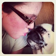 Special moment with my pug<3
