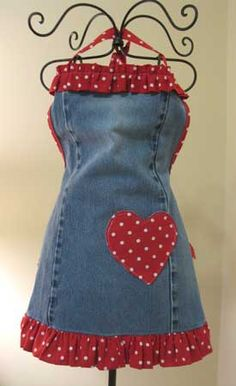 cute apron made from old jeans