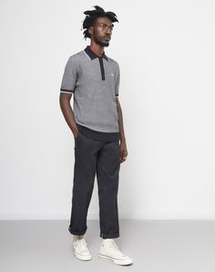 Fred Perry Two Colour Texture Knit Shirt Navy #StyleMadeEasy