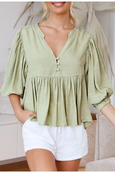 Casual pleated lantern sleeve Button satin elegant blouse #Blouses #Shirts #Tops #spring2021 #fashion #likeforlike #comment #follow4follow Half Sleeves, Types Of Sleeves, Green Pattern, Fashion Colours, Patterned Shorts, Lanterns, Wrap Dress, Thanksgiving Sale, Elegant
