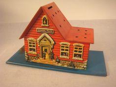 Vintage Tin Litho School House Bank