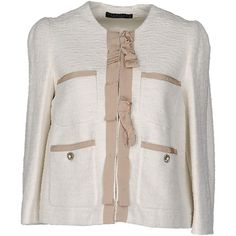 Twin-set Simona Barbieri Blazer ($125) ❤ liked on Polyvore featuring outerwear, jackets, blazers, ivory, ivory blazer, boucle blazer, long sleeve jacket, blazer jacket and ivory boucle jacket