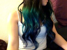 blue green ombre again! Dyed Hair Blue, Blue Ombre Hair, Hair Dye, Turquoise Hair Ombre, Pink Purple, Blue Green, Ombre Tumblr, Hair Color And Cut, Hair Looks