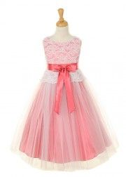 Coral Lace Girl Dress with Tulle Skirt
