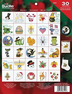 Bucilla Holiday Ornaments Counted Cross Stitch Kit Set Of 30 - http://www.specialdaysgift.com/bucilla-holiday-ornaments-counted-cross-stitch-kit-set-of-30/