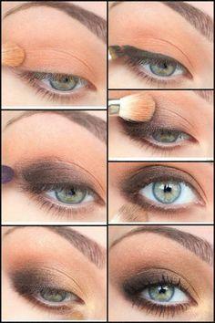 Rauchige Augen aus Pfirsich und Grau