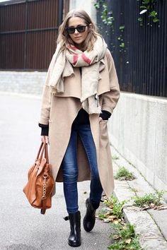fall/winter casual street style - camel zara coat, winter blanket scarf + biker boots and skinny jeans