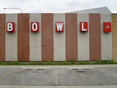 Bowling alley with retro font
