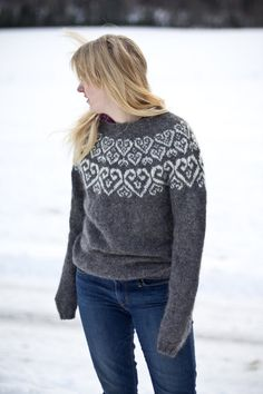 Sweetheart Icelandic lopapeysa pattern knitted wool by Linnah. I need to find someone to knit this for me. Fair Isle Knitting, Knitting Yarn, Baby Knitting, Wool Yarn, Icelandic Sweaters, Wool Sweaters, Knitting Patterns Free, Knit Patterns, Fair Isle Pattern