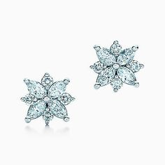 Tiffany Victoria™ cluster earrings in platinum with diamonds.