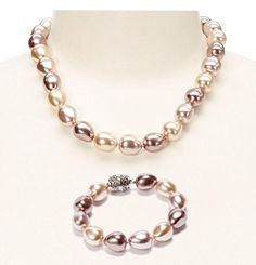 Nekouda Pearl - Multicolor 12 mm Baroque Shell Pearl Extendable Necklace & Bracelet Set ** To view further for this item, visit the image link.
